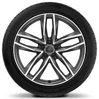 Audi Sport cast alloy wheels, 5-double- spoke style, Matte Titan. Look, diam.- turn., 9.5J x 21, 285/40 R21 tires