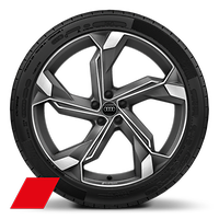 """22"""" 5-arm Interference design, Titanium Grey wheels with 285/35 R22 tires*"""