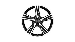Cast aluminium winter wheel in 5-arm velum design, matt black, high-gloss turned finish, 8 J x 18