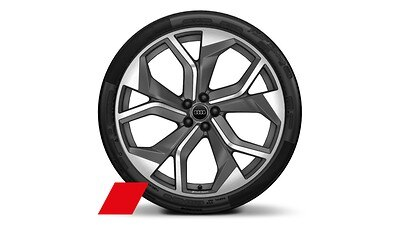 "23"" Audi Sport 5-Y-spoke rotor design matte titanium wheels"