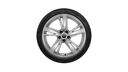 Complete winter wheel in 5-arm blade design, galvanic silver, metallic,  8 J x 19, 235/35 R19 91V XL, left