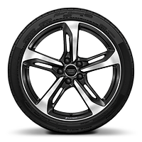 Audi Sport cast alloy wheels, 5-spoke blade style, Glossy Black, diamond- turned, 9J x 19 with 245/35 R19 tires