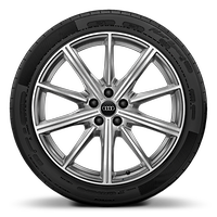 Audi Sport cast alloy wheels, 10-spoke star style, Platinum Look, diamond- turned, 8.5J x 20 with 255/40 R20 tires
