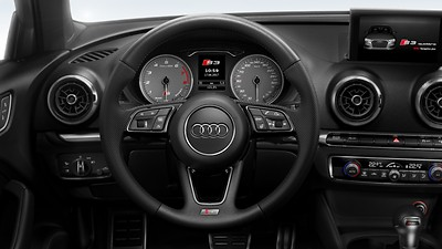 Leather-wrapped multifunction steering wheel, heated