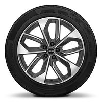 Audi Sport cast alloy wheels, 5-double- spoke edge style, Matte Titanium Look, diamond-turned, 9J x 20