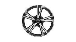 Cast aluminium wheel in 5-arm falx design, matt black, high-gloss turned finish, 8 J x 19