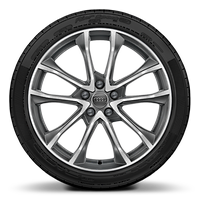 "19"" x 8.5J '5-spoke-V' design alloy wheels in contrasting grey with 255/35 R19 tyres"