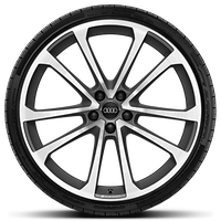 Audi Sport cast alloy wheels, 5-double-spoke V-style, Matte Titanium Look, diamond-turned