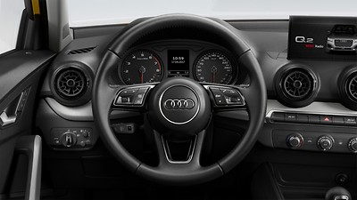3-spoke leather-trimmed multi-function steering wheel with gear-shift paddles