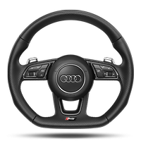 Flat-bottomed high multi-function 3-spoke leather Sport steering wheel with RS badging