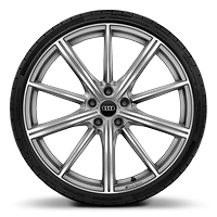 Audi Sport cast alloy wheels, 10-spoke star style, Platinum Look, diamond- turned, 9J x 21 with 265/35 R21 tires