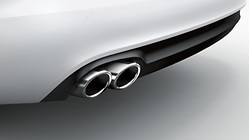 Sport tailpipe trims, for vehicles with a single tailpipe on the left, chrome-finished, silver