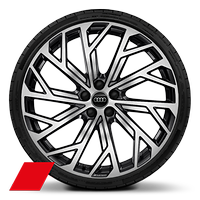 Alloy wheels, 10-Y-spoke Evo style, Anthrac. Black, diam.-turn., 9.0J x 21, 265/35 R21 tires, Audi Sport GmbH