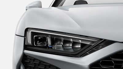 LED headlamps, dark-tinted glass with dynamic turn signal, Audi laser light, high-beam control