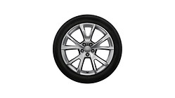 Complete winter wheel in 5-V-spoke design, brilliant silver, 7.5 J x 18, 225/50 R18 99H XL