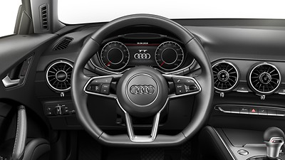 3-spoke multi-function, flat-bottom steering wheel