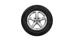 Complete winter wheel in 5-spoke design, brilliant silver, 6 J x 16, 205/60 R16 92H, right
