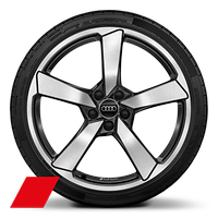 "20"" Audi Sport alloy wheels in 5-arm cutter design, anthracite black, diamond turned with 255/30 tyres"