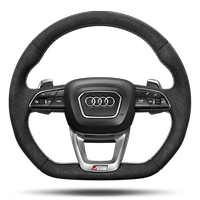 Sports contour leather-wrapped multi-function Plus steering wheel, 3-spoke, flat-bottomed