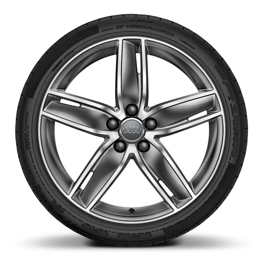 "19"" x 8.0J '5-arm wing' design alloy wheels in gloss titanium look with 235/35 R19 tyres"
