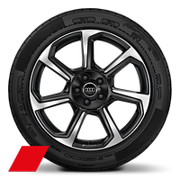 Audi Sport cast alloy wheels, 7-spoke rotor style, Anthracite Black, diam.-turned, 8.5x19 w/ 255/45 R19 tires