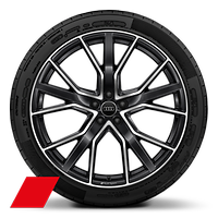 Audi Sport cast alloy wheels, 5-V-spoke star style, Black, diamond-turned, 10J x 22, 285/40 R22 tires