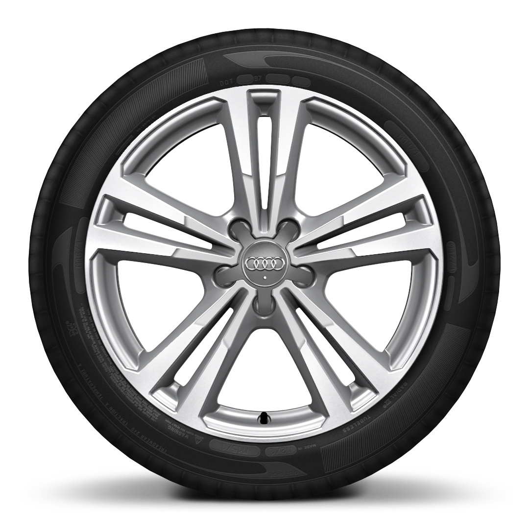 Cast alloy wheels, 5 parallel-spoke style, partly polished, 7.5J x 18 with 225/40 R18 tires