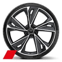 "22"" x 10.5J '5-V-spoke star' structure style, glossy black alloy wheels with 285/30 R22 tyres"