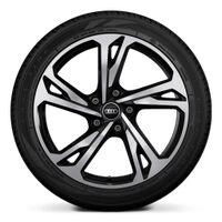 Wheels, 5-twin-spoke offset, black, glossy finish